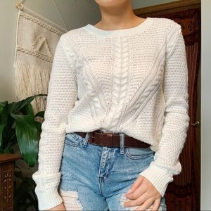White knit sweater / small / hippie rose / JCP